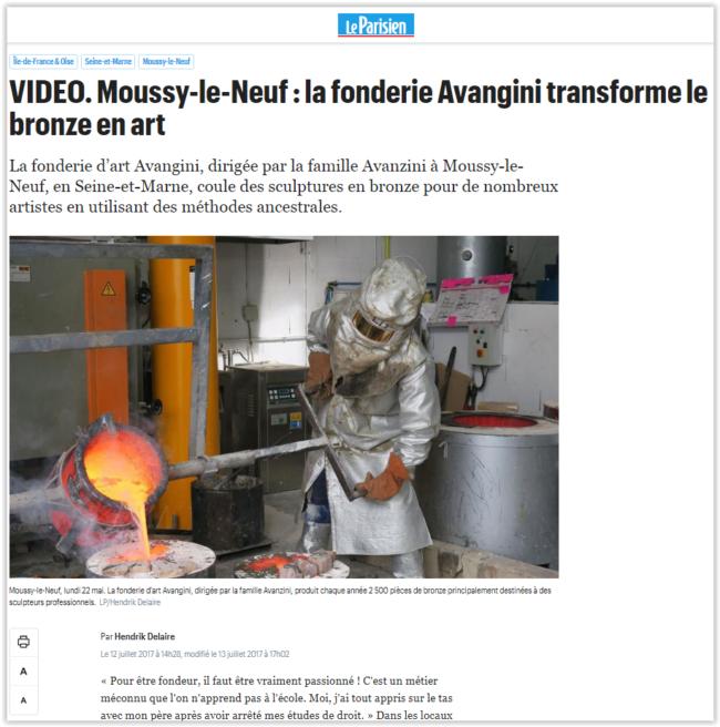 Le Parisien publie un article sur la Fonderie d'art Avangini :